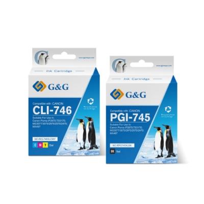 【G&G】for CANON 1黑1彩 PG-745XL+CL-746XL 高容量相容墨水匣超值組 /適用Canon PIXMA TR4570/iP2870/MG2470/MG2570/MG2970