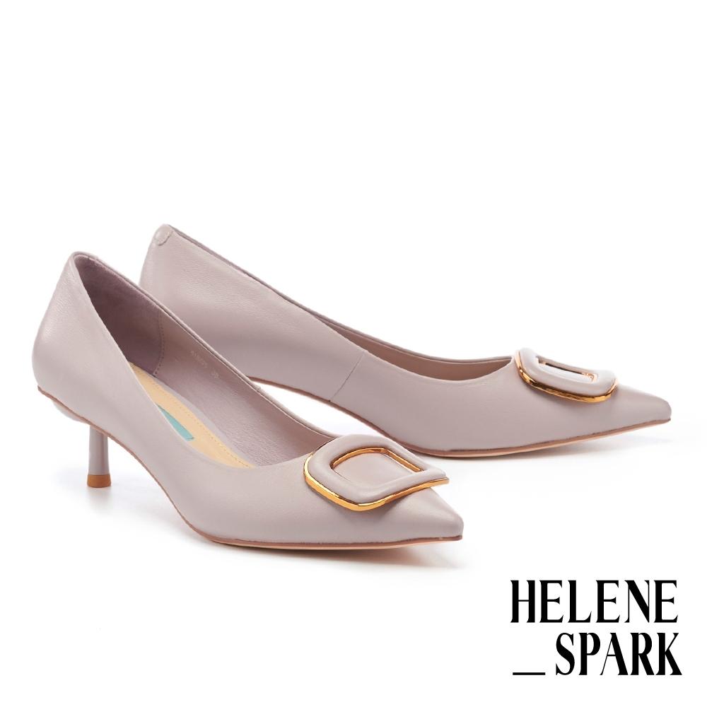 高跟鞋 HELENE SPARK 時尚典雅金屬方釦羊皮尖頭高跟鞋-紫