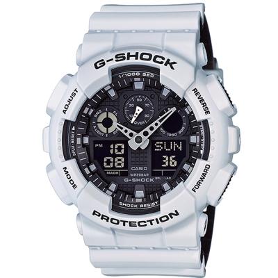 G-SHOCK 酷炫雙色個性造型設計休閒運動錶(GA- 100 L- 7 A)白X黑/ 51 . 2 mm
