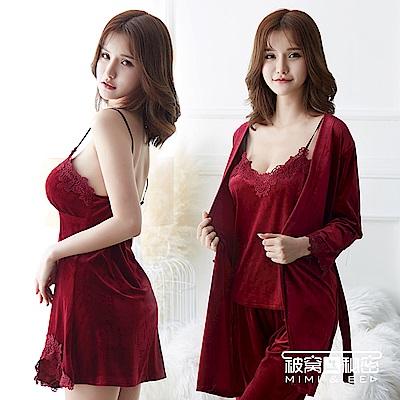睡衣 金絲絨水溶花蕾絲四件組睡衣套裝。紅色 被窩的秘密