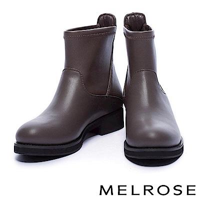 短靴 MELROSE 時尚率性異材質拼接純色粗低跟短靴-灰