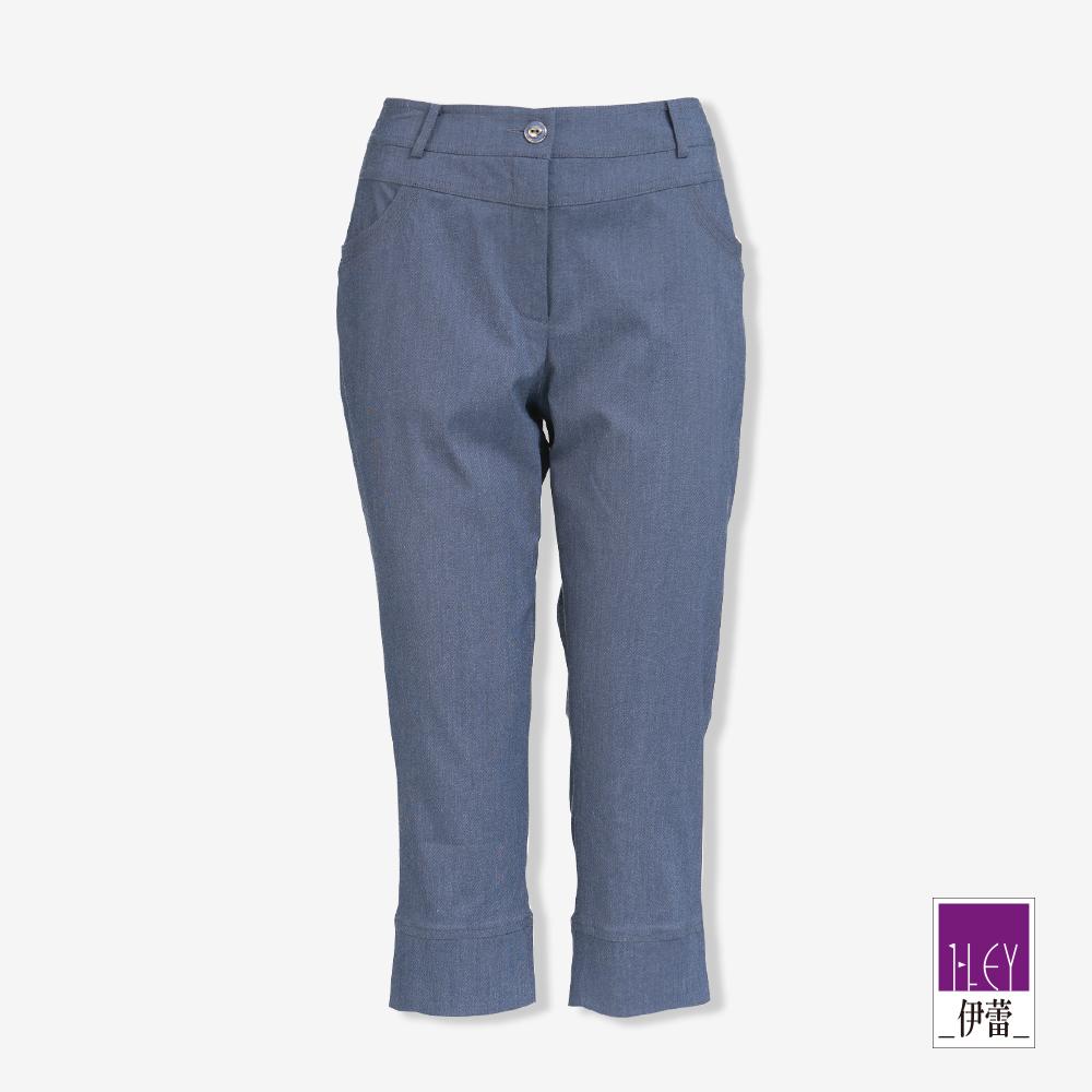 ILEY伊蕾 光澤感彈力七分褲(藍/紅) @ Y!購物