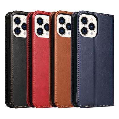 Fierre Shann 真皮紋 iPhone 13 Pro Max (6.7吋) 錢包支架款 磁吸側掀 手工PU皮套保護殼
