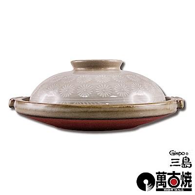 萬古燒 日本製Ginpo銀峰花三島耐熱陶板屋-6號(適用1人)