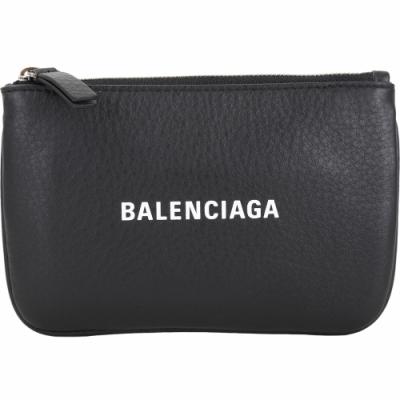 BALENCIAGA EVERYDAY 品牌字母小牛皮拉鍊零錢包(黑色)