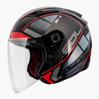 SOL SO-7E 幻影3/4開放式安全帽(黑紅)