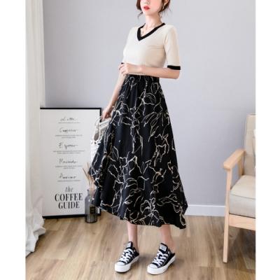 2F韓衣-簡約抽象碎花層疊裙擺造型A字裙-2色-(F)