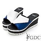 GDC-真皮撞色好搭楔型厚底簡約時尚拖鞋-白