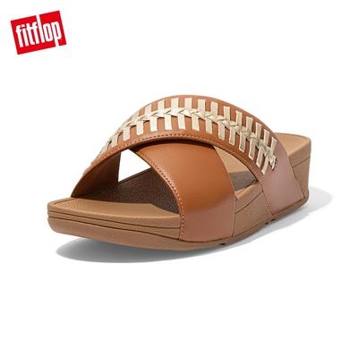 FitFlop LULU WRAPPED WEAVE SLIDES 金屬色編織造型交叉雙帶涼鞋-女(淺褐色)