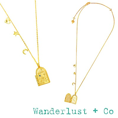 Wanderlust+Co 閃耀銀河藏寶盒金色項鍊 星星月亮愛心 ASTRA LOCKET