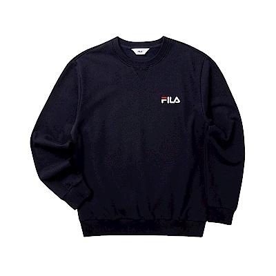 FILA 男長袖圓領T恤-丈青 1TET-5500-NV