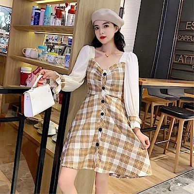 DABI 韓系荷葉泡泡袖拼接性感收腰格紋長袖洋裝