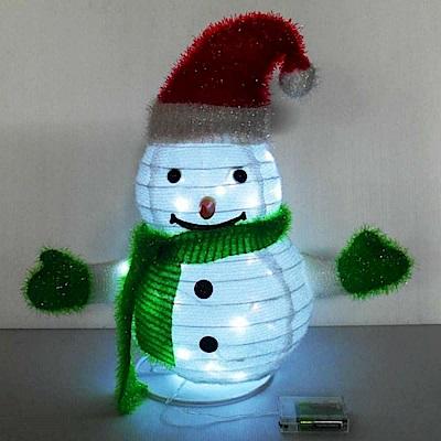 摩達客 聖誕彈簧折疊小雪人 LED燈電池燈飾 42cm