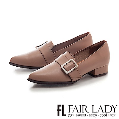 Fair Lady 英倫時尚方釦裝飾粗跟鞋 焦糖