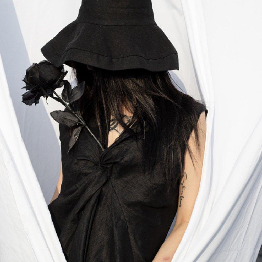 設計所在Style-暗黑風打結仙女不規則無袖襯衫