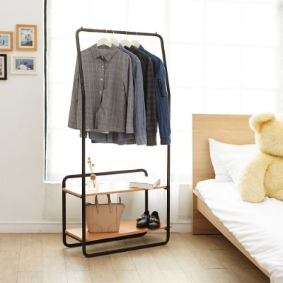 H&R安室家 台製雙層層板組合式掛衣架LS186