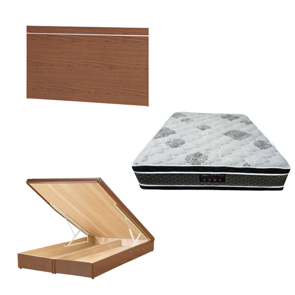 綠活居 梅娜6尺雙人加大床台三式組合(床頭片+後掀床底+正四線柔纖獨立筒)五色可選