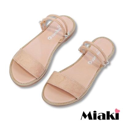 Miaki-涼鞋一字造型2穿平底拖鞋-杏