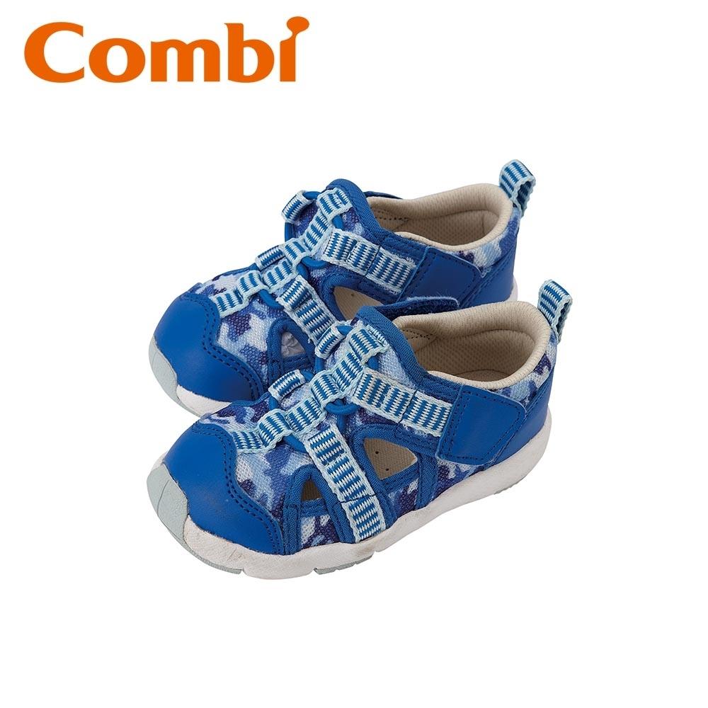 日本Combi童鞋 活力迷彩幼兒機能涼鞋-天空藍