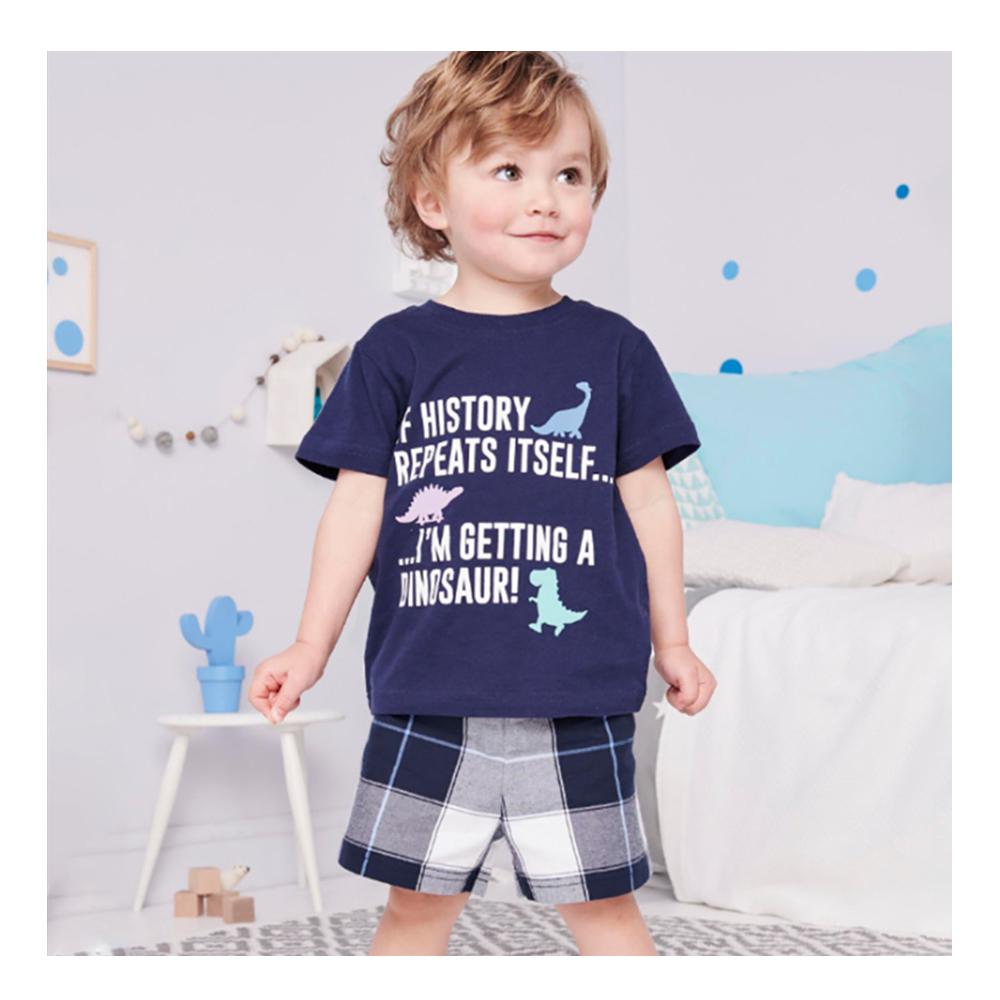 男童 中小童 歐美風格春夏棉短袖套裝-藍色恐龍