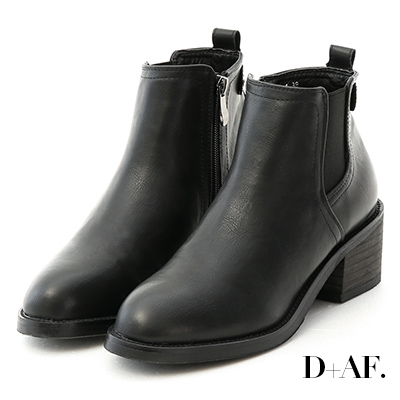 D+AF 玩酷經典.側鬆緊拼接中跟短靴*黑