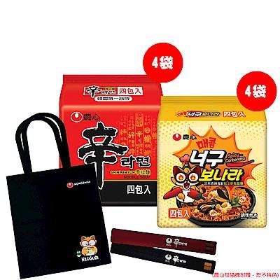 [團購F] 農心辛拉麵(4袋)+浣熊起士炒烏龍麵(4袋)