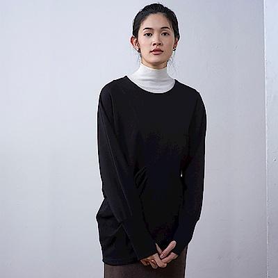 旅途原品_閱心_原創設計個性不對稱兔毛T恤-黑色