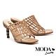 拖鞋 MODA Luxury  獨特竹紋自然風編織感羊皮美型高跟拖鞋-杏 product thumbnail 1