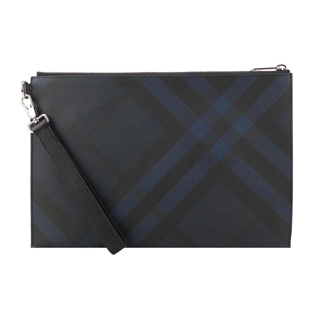 BURBERRY 經典格紋防刮PVC大手拿包(黑藍)