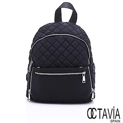 OCTAVIA 8 - 出走 羽量尼龍格紋可拆式防盜後背包 - 趴趴黑