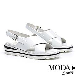 涼鞋 MODA Luxury 潮流鏡面交叉帶設計撞色厚底涼鞋-白