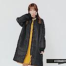 H:CONNECT 韓國品牌 女裝-電繡文字長板飛行外套-黑