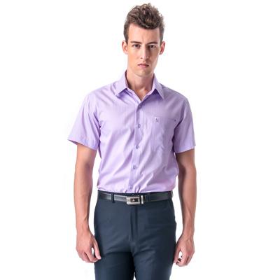 金‧安德森 紫色寬暗紋窄版短袖襯衫fast