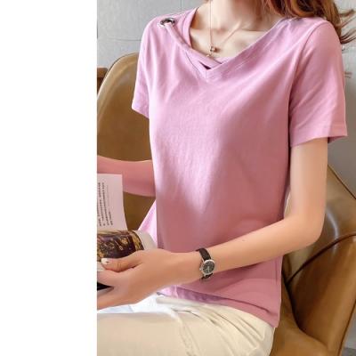 2F韓衣-簡約創意領型V領造型上衣-3色(S-XL)