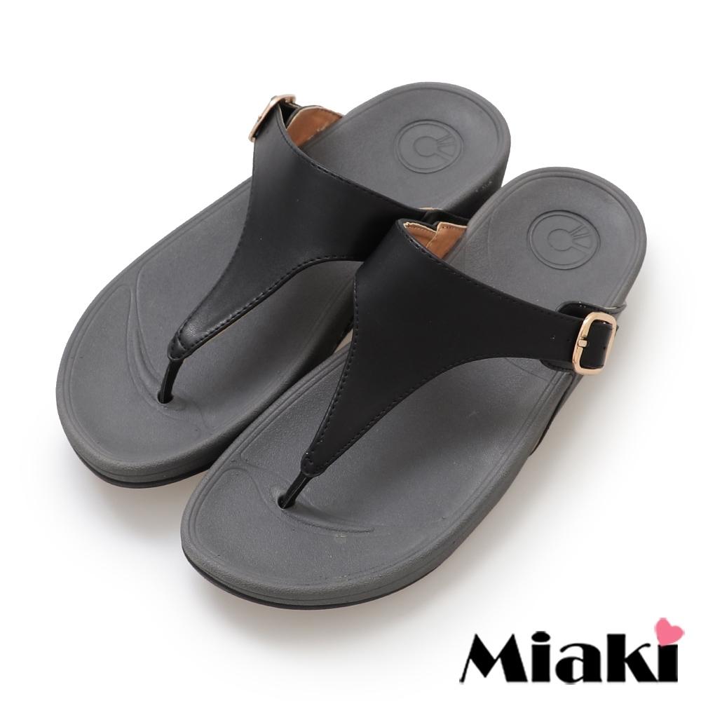 Miaki-涼鞋韓風休閒厚底夾腳拖鞋-黑