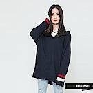 H:CONNECT 韓國品牌 女裝-學院感V領針織上衣-藍