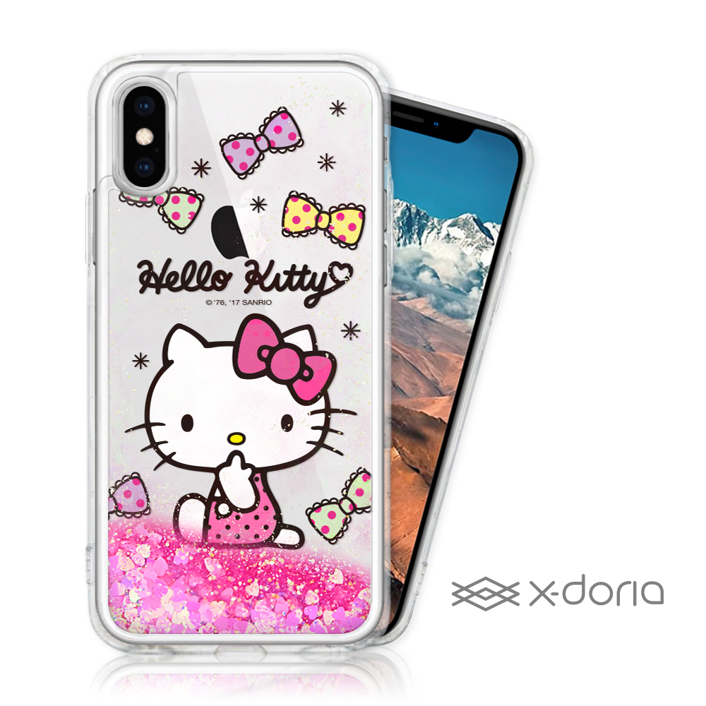 Hello Kitty iPhone X/Xs 亮片流沙手機軟殼 - 嘟嘴