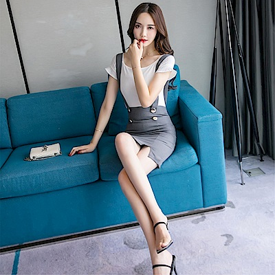 DABI 韓國學院風修身背帶裙時尚套裝短袖裙裝