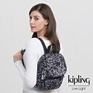 Kipling 英式粉漆塗鴉拉鍊掀蓋後背包-CITY PACK MINI