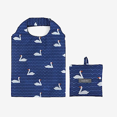 Dailylike 摺疊口袋購物袋S-02小鴨藍湖