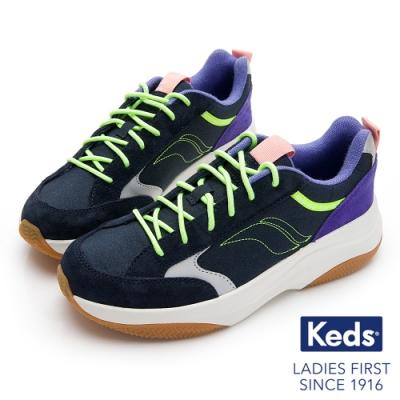 Keds K-89 復古曲線厚底老爹鞋-藍