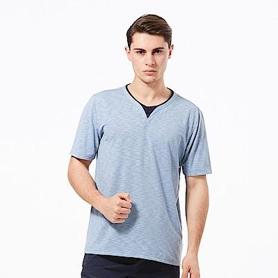 【HAKERS 哈克士】男 抗UV快乾圓領衫-石藍