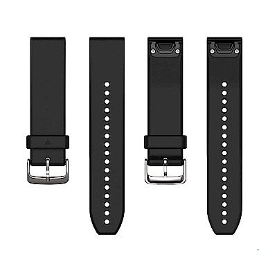 GARMIN QUICKFIT 22mm 墨黑色矽膠錶帶(銀錶扣)