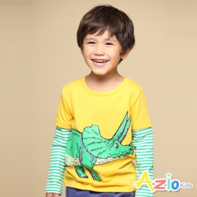 Azio Kids 男童 上衣 假兩件條紋接袖恐龍印花長袖上衣(黃)