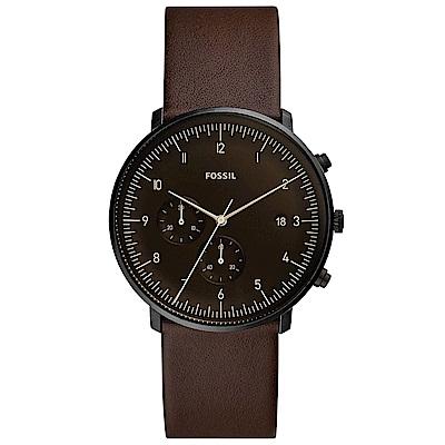 FOSSIL 10:10pm清醒咖啡館皮革男錶(FS5485)-咖啡面x42mm