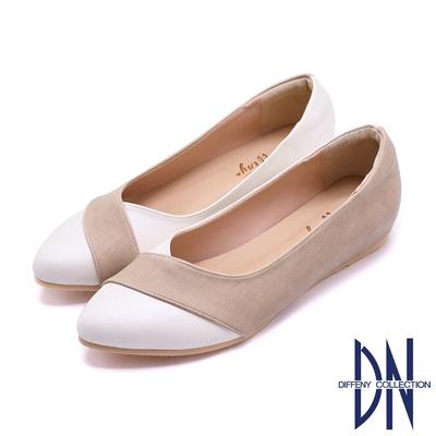 DN包鞋_MIT雙色拼接V口內增高平底鞋-白