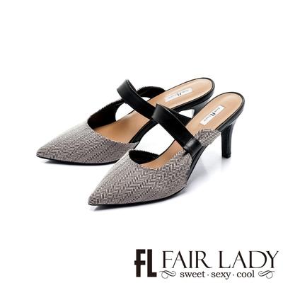 FAIR LADY 優雅小姐 尖頭一字帶高跟穆勒鞋 斜紋黑