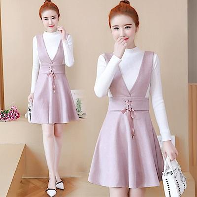 DABI 韓系時尚氣質針織衫綁帶背帶套裝長袖裙裝