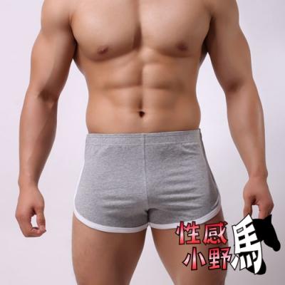 性感小野馬-性感小野馬-內褲男生性感純色棉質平角運動褲吸引A4015)M-2XL