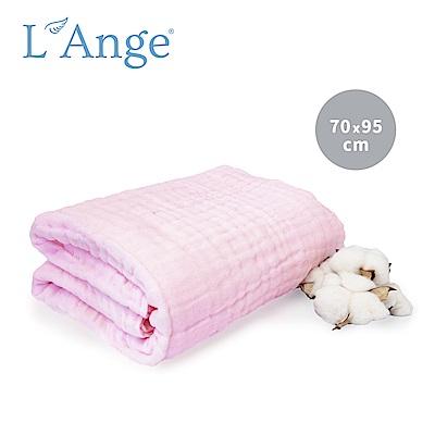 L Ange 棉之境 6層純棉紗布浴巾/蓋毯 70x95cm-粉色